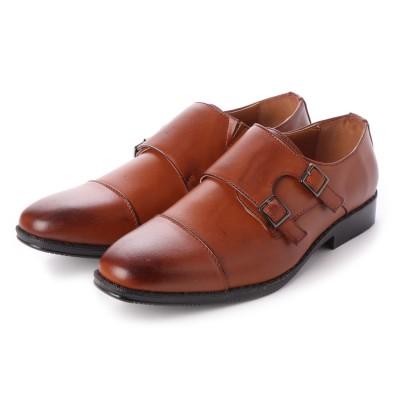 ジーノ Zeeno ビジネスシューズ メンズ 幅広 3EEE 防滑 ダブルモンクストラップ ストレートチップ 紳士靴 大きいサイズ対応 キングサイズ (L/Brown)