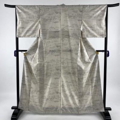 小紋 美品 逸品 証紙 大島紬地 風景 人物 クリーム 袷 身丈164.5cm 裄丈66cm M 正絹 中古