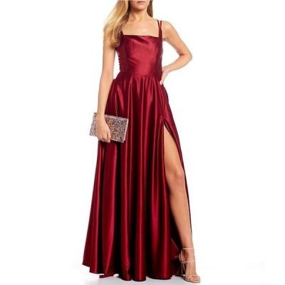 ビーダーリン レディース ワンピース トップス Square Neck Satin Long Dress