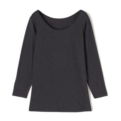ムレにくく暖かいインナー ボディヒーター レディース セブンプレミアムライフスタイル ボディヒーター 婦人 綿混8分袖シャツ チャコールグレー L