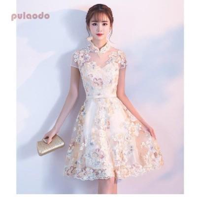 立ち襟 ミモレドレス カラードレス パーティードレス 10代 20代 30代40代 ワンピース ウエディングドレス お呼ばれ 二次会 披露宴 謝恩会 成人式