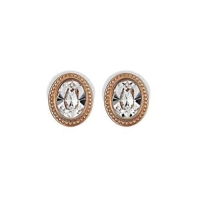 イヤリング スワロフスキー Swarovski Arrive 5036772 White Oval Crystal Rose Gold Plated Stud Earrings
