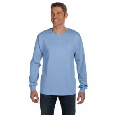 Hanes  ファッション トップス Hanes Mens 6.1 oz. Tagless ComfortSoft Long-Sleeve Pocket T-Shirt 5596 S-3XL