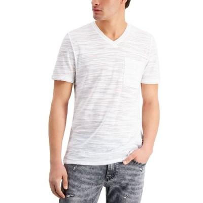 アイエヌシーインターナショナルコンセプト メンズ Tシャツ トップス INC Men's Broken-Stripe V-Neck T-Shirt