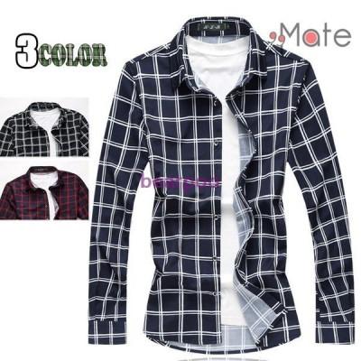 ネルシャツ メンズ 開襟シャツ シャツ 長袖 カジュアルシャツ オシャレ チェック 大きいサイズ 長袖シャツ カラフル
