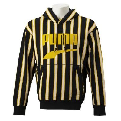 【PUMA】 プーマ M DOWNTOWN ストライプ フーディ スウェットプルオーバー 596004 01BLACK-AOP S パターン