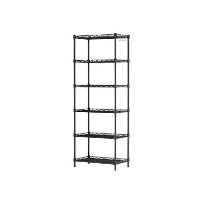 スチールラック 収納 棚 ラック メタル スチール シェルフ キッチン収納 ワイヤーラック 55×30×160cm ブラック (ブラック)