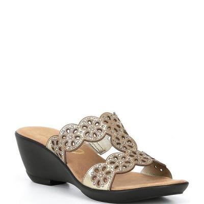 オネックス レディース サンダル シューズ T Strap Leather Slide Sandals Gold