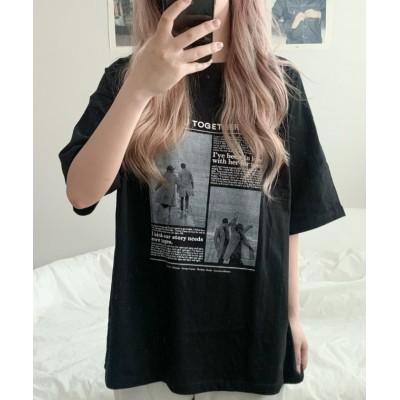 【サードスプリング】 SONYUNARA(ソニョナラ)TOGETHERプリント男女兼用Tシャツ レディース ブラック フリー 3rd Spring