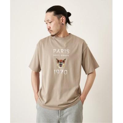 【エディフィス】 ミニジェルマン刺繍 Tシャツ ユニセックス ブラウン L EDIFICE