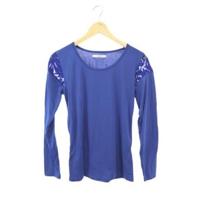 ブージュルード Bou Jeloud Tシャツ カットソー クルーネック 刺繍 チュール  長袖 M 青 ブルー /YS11 レディース【中古】【ベクトル 古着】