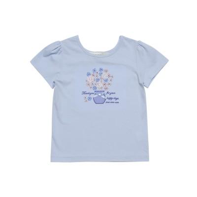 【むーのんのん moononnon】綿100%花モチーフプリントTシャツ