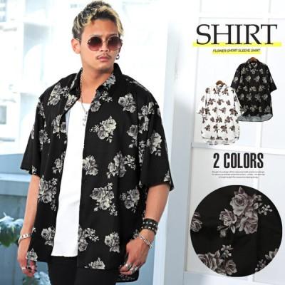 シャツ メンズ 半袖 5分袖 ビッグシルエット 花柄 薔薇 ドロップショルダー ロング丈 ストリート