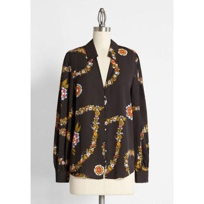 モドクロス ModCloth レディース ブラウス・シャツ トップス here comes success chiffon blouse black