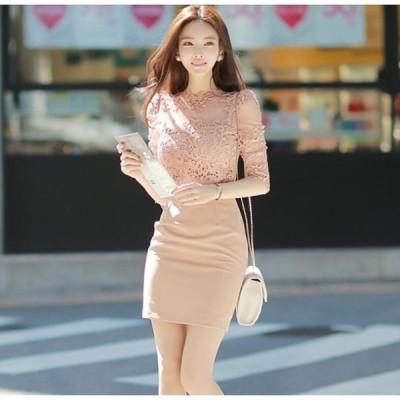レース 韓国風 5分袖 可愛い マキシワンピ 女性 ファッション Aライン 旅行 ショートワンピース レディース ワンピ 服 通勤 OL オフィス 春 夏 大人 ゆったり