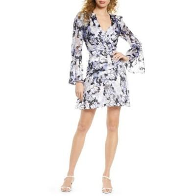 ハーリン レディース ワンピース トップス Floral Burnout Long Sleeve Dress DUSTY BLUE MULTI