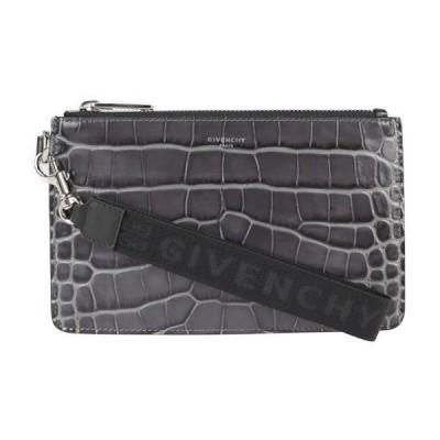 新品未使用展示品 Givenchy ジバンシー 20SSモデル BK603 クラッチバッグ クロコ型押しレザー グレー系 ポーチ【本物保証】