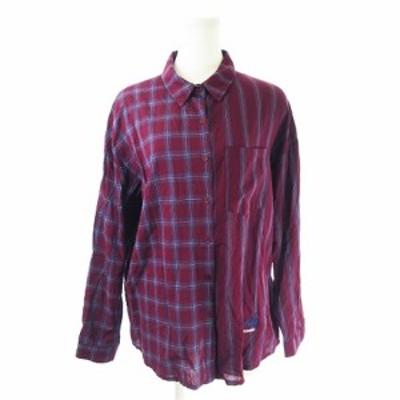 【中古】ミックスエックスミックス UNTITLE8 シャツ 長袖 オーバーサイズ アシンメトリー チェック ストライプ 紫