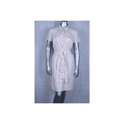 チャータークラブ ドレス ワンピース フォーマル Charter Club Sand Petite Belted ストライプド Buttoned ドレス 10P 89LAFO