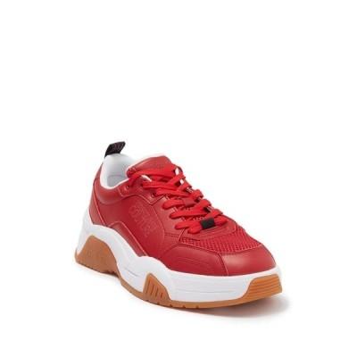 ヴェルサーチ メンズ スニーカー シューズ Leather Low Top Sneaker RED