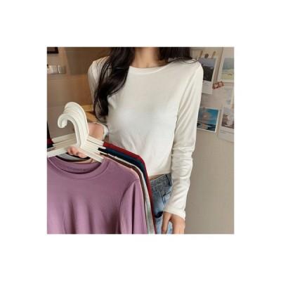 【送料無料】秋 レディース 韓国風 何でも似合う 着やせ ファッション 長袖Tシャツ ホ | 364331_A63583-9535269