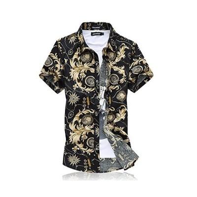 [CEEN] シャツ メンズ 半袖 夏 大きいサイズ オラオラ ビーチ 綿 スリム カジュアルシャツ