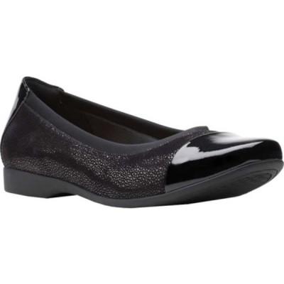 クラークス レディース サンダル シューズ Un Darcey Cap 2 Ballet Flat Black Nubuck/Leather
