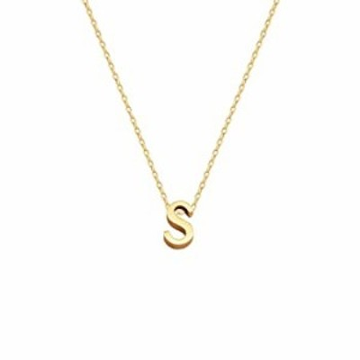 Small Initial Necklace 18K Gold Plated Stainless Steel Tiny Letter S Necklace Personalized Monogram Name Necklace for Women Girl