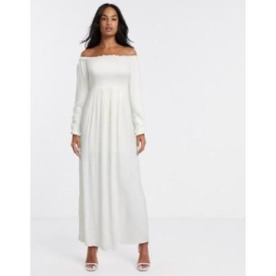 リバーアイランド レディース ワンピース トップス River Island ruched bardot maxi dress in white White