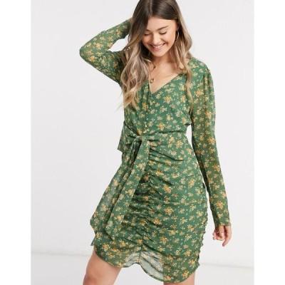 ヴィラ レディース ワンピース トップス Vila chiffon mini dress with ruched front in green floral Multi