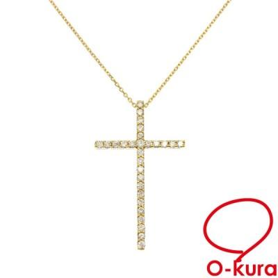 ダイヤモンド クロスモチーフ ネックレス レディース K18YG 0.39ct 4.2g 750 18金 イエローゴールド 十字架 中古