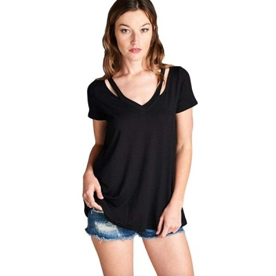 Cherish Women's Short Sleeve Loose Fit V Neck Tunic with Cut Out Shoul