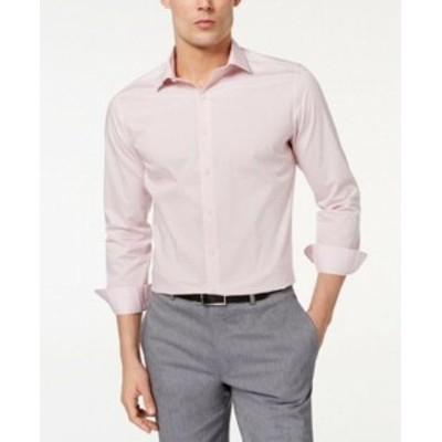 ファッション ドレス Bar III NEW Pink Mens Size 15 1/2 Geometric Print Slim Fit Dress Shirt