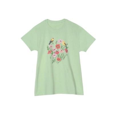レディース 衣類 トップス Morning Sun Women's Poppy T-Shirt - Green Floral Print Bird Tee Short Sleeve Tシャツ