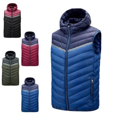 中綿ベスト メンズ ダウン風ベスト フード付き 冬 カジュアル ファッション 軽量 暖かい ジャケット 厚い 防風 防寒着 男性用ベスト 秋冬