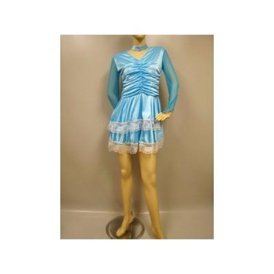 社交ダンス ダンス カラオケ 演奏会 コーラス ドレス レディース ダンスウェア 衣装 ラテンドレス モダンドレス  ブルー