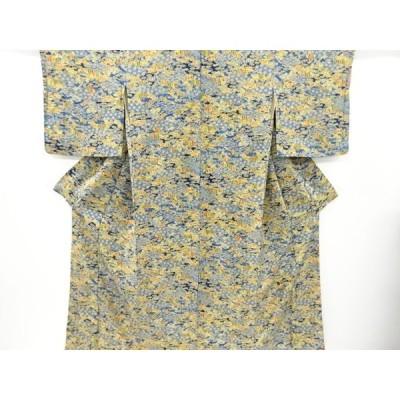 宗sou 遠山に樹木家屋模様手織り紬着物【リサイクル】【着】