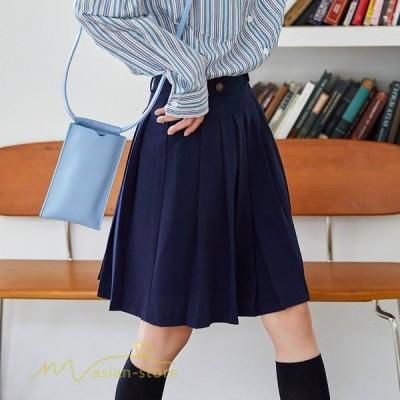 プリーツスカート レディース 着痩せ カジュアル ボトムス 上品 ハイウエスト 着回し 細身 無地 膝丈 ミディアム丈 きれいめ 可愛い 女性 日常
