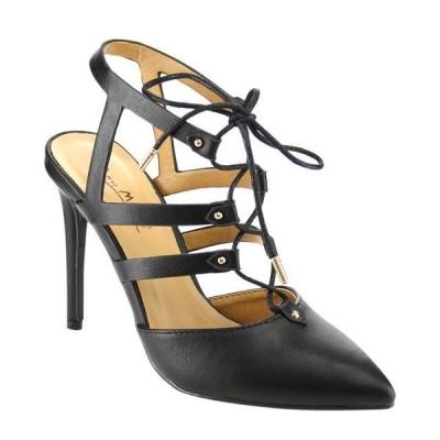 ヒール パンプス シューズ 靴 アンミシェル ANNE MICHELLE RISEUP-27M レディース Pointed Toe Stiletto ヒール Lace Ups ドレス パンプスs BLACK