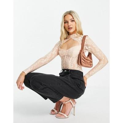 ラブトライアングル ボディ レディース Love Triangle lace bodysuit with high neck and cup detail in pale pink エイソス ASOS ピンク