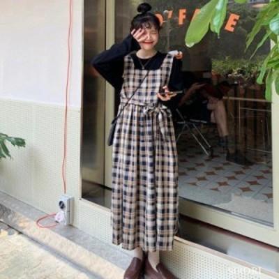 ワンピース レディース ルーズ チェック柄 ワンピース  ストラップ キュート 体型カバー 呼ばれ 韓国風 オシャレ 半袖 春 ロング丈 ゆっ