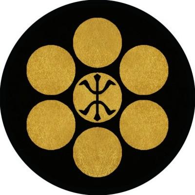 家紋シール 七曜に木の字紋 直径4cm 丸型 4枚セット KS44M-1820