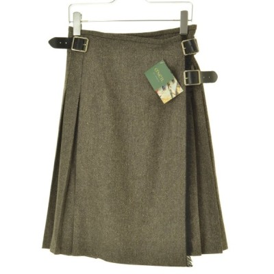 O'NEIL OF DUBLIN / オニールオブダブリン 124 MODIFIED KILT ヘリンボーンウール混キルト バックプリーツラップロング スカート