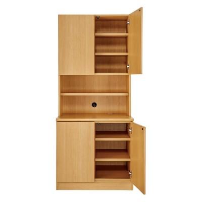 書斎壁面収納シリーズ 収納庫 扉オープンタイプ 幅78cm ナチュラル