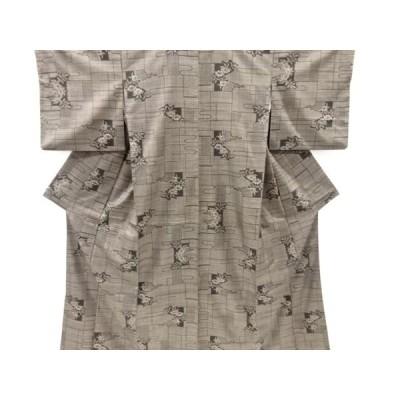 宗sou ヱ霞に花模様織り出し本場泥大島紬着物(5マルキ)【リサイクル】【着】