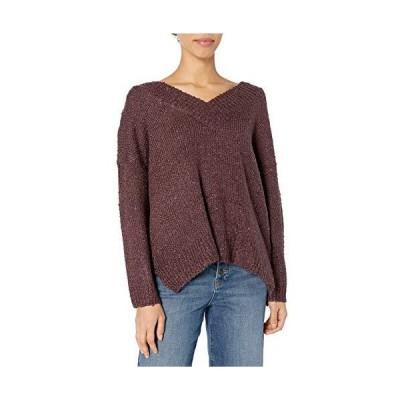 Jack by BB Dakota Women's V That Way Textured V-Neck Sweater, Plum, Small並行