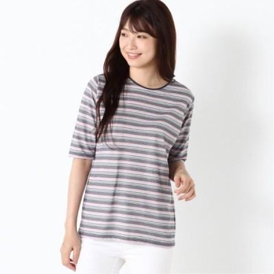 涼しく快適ドライカノコ5分袖Tシャツ ネイビーグレー M L LL