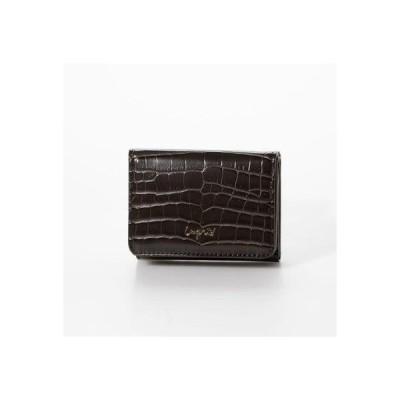 アングリッド Ungrid シャイニースモールクロコ 三つ折りミニ財布 (DBRN)