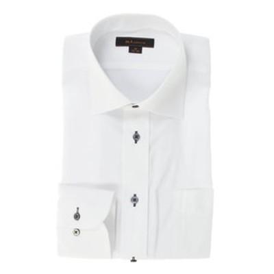 形態安定レギュラーフィット ワイドカラー長袖ビジネスドレスシャツ