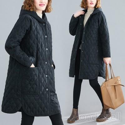 キルティングコート ロング レディース フード付き ブルゾン 中綿コート ビッグシルエット ゆったり 羽織り アウター 防寒 あったか  大きいサイズ 暖かい 冬服